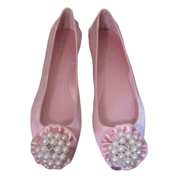 e7ee807a7b76 Kate Spade Satin and Pearl Pink Flats New 8M